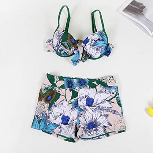 3XL swimsuit cover ups Kimono Cardigans Beach Chiffon Tops KSell Womens 3 Pcs Floral Print Chiffon Swimsuit Beach Bikini/