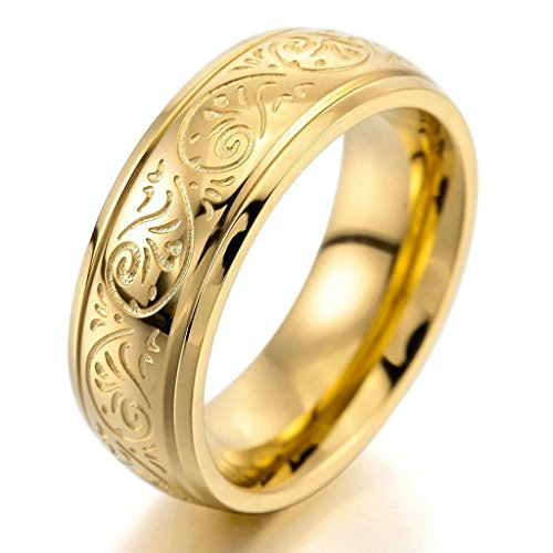 Florentine Urn - Gnzoe Jewelry, Mens 7mm Stainless Steel Rings Band Gold Engraved Florentine Design Charm Elegant Size 11