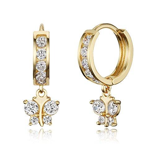 14k Gold Plated Brass White Butterfly Channel Cz Huggy Baby Girls Hoop Earrings