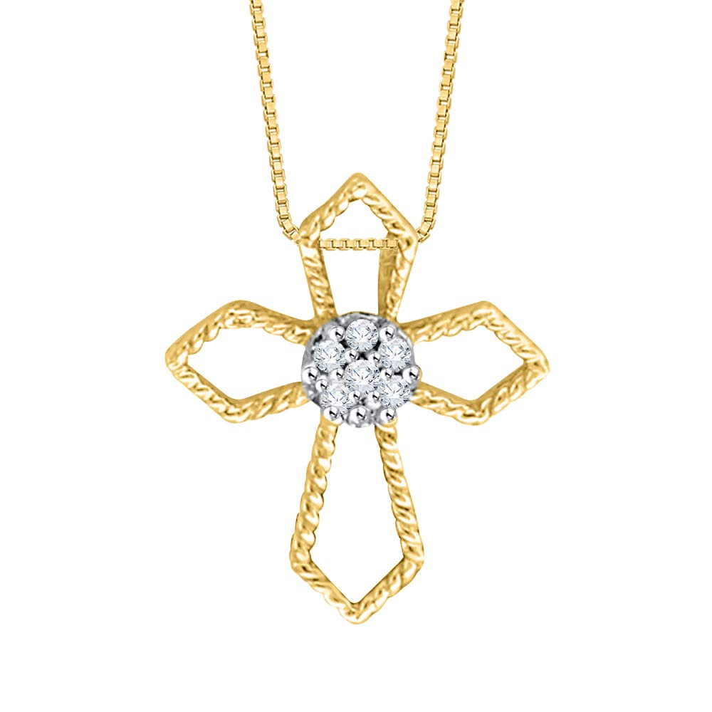 1//20 cttw, I-J, I1-I2 KATARINA Diamond Cross Pendant Necklace in Gold or Silver