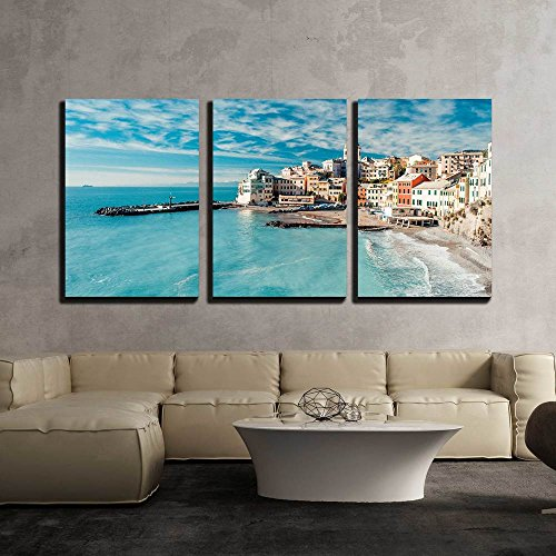 wall26 - 3 Piece Canvas Wall Art - View of Bogliasco. Bogliasco is a Ancient Fishing Village in Italy - Modern Home Decor Stretched and Framed Ready to Hang - 16