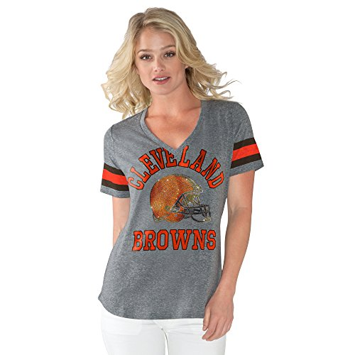Cleveland Browns Heather - NFL Cleveland Browns Adult Women G34Her Triple Play Tee, Small, Heather Grey