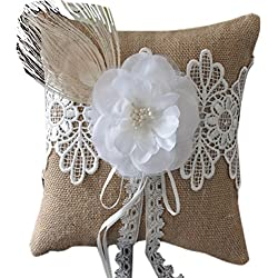 Dimart Wedding Ring Pillow Cushion Burlap Fibre Large Flower Peacock Tail Design (Style 2)