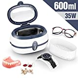 Ultrasonic Cleaner Low Noise Wash Machine for Cleaning Eyeglasses Jewelrys Watches Razors Dentures Combs Tools Instruments (1, 600 ml)