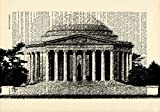 Jefferson Memorial Washington DC Printed on Dictionary Paper