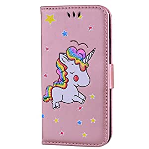 iPhone X Case,iPhone X Wallet Case, Ztongy Flip Case Rainbow Unicorn PU Leather Magnetic Flip Folio Cover with TPU Soft Bumper Case Cards Slot Cash Pockets for Apple iPhone X Case 2017 (Rose Gold)