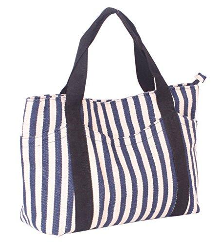 Fortunings JDS® Frauen-blaue gestreifte Segeltuch-Schulebeutel-Handtascheneinkaufs schwarz 7AfdTLBPv