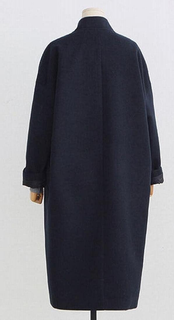YONGM Womens Winter Casual Open Front Wool Overcoat Jackets