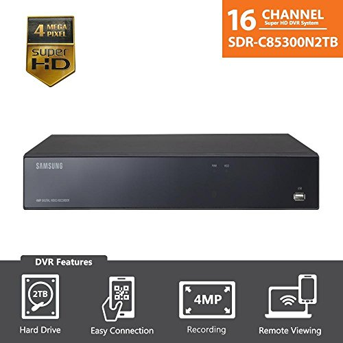 Samsung 16 Channel Super HD 4 MP Security DVR with 2TB Hard Drive SDR-B85300N