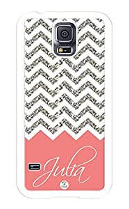 iZERCASE Samsung Galaxy S5 Case Personalized Chevron Pattern Coral Grey White Mixed RUBBER CASE (NOT ACTUAL GLITTER) - Fits Samsung Galaxy S5 T-Mobile, Sprint, Verizon and International (White)