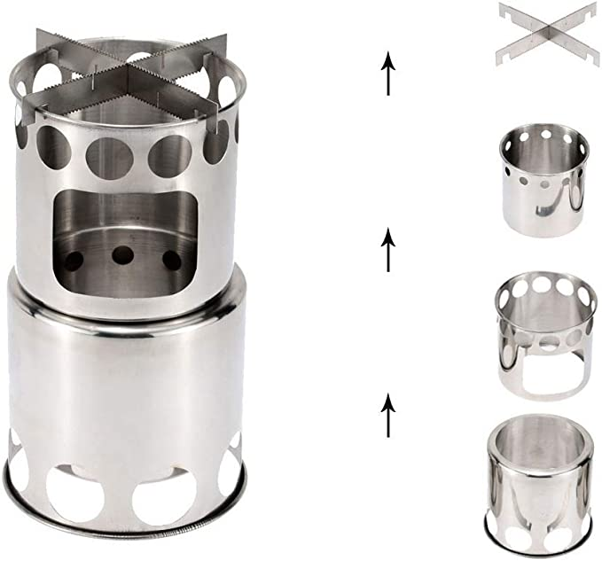 Powstro Folding Water Cup Stainless Steel Collapsible Cup Portable for Camping Outdoor Travel Silver