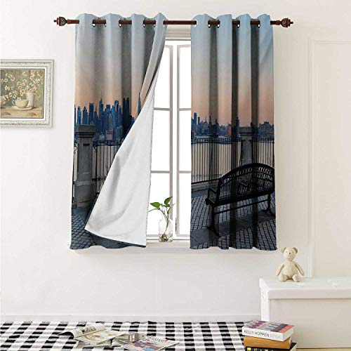 Flyerer Landscape Waterproof Window Curtain Bench in New York City Midtown Manhattan Sunset Hudsn River Skyline Scenery Photo Curtains for Party Decoration W84 x L72 Inch Multicolor]()