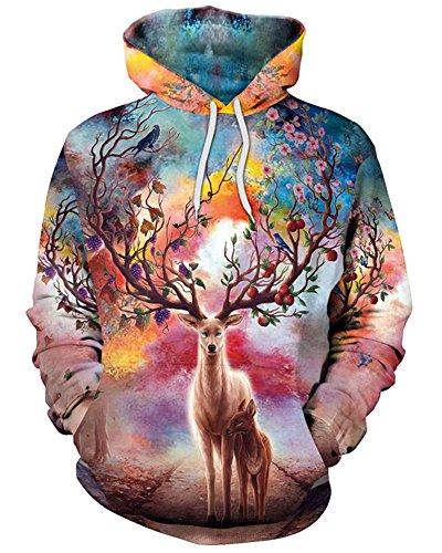 GLUDEAR Unisex Realistic 3D Digital Print Pullover Hoodie Hooded Sweatshirt,Reindeer,S/M]()