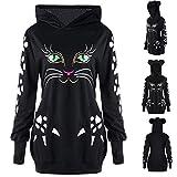 Big Teresamoon Womens Sweatshirt Cat Print Hoodie with Ears Hooded Pullover Tops Blouse