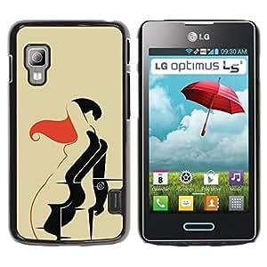 TopCaseStore / la caja del caucho duro de la cubierta de protección de la piel - Nude Art Woman Drawing Body Sexy Red Hair - LG Optimus L5 II Dual E455 E460
