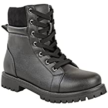 Fashion Thirsty Womens Ankle Boots Lace Up Military Combat Worker Army Style Shoes Size