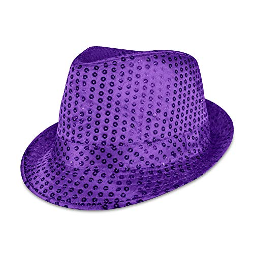 LED Light Up Sequin Fedora Party Hat (Purple)