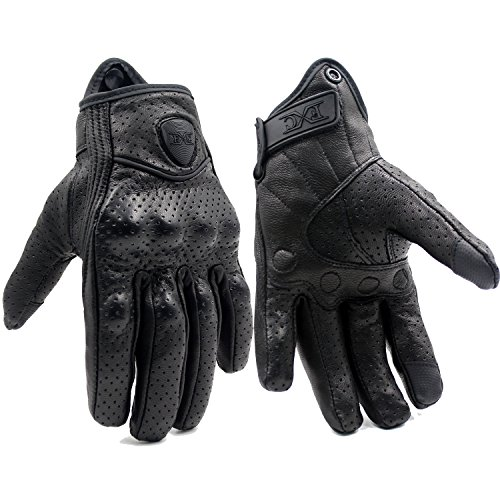 FXC Full Finger Motorcycle Leather Gloves Men's Premium Protective Motorbike Gloves (XL, Mesh)