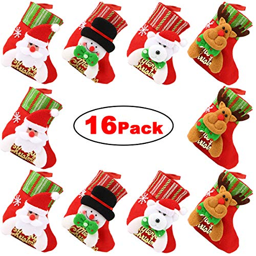 (Dreampark Mini Christmas Stocking, (16 Pack) Xmas Stocking Christmas Tree Ornaments Decorations 6