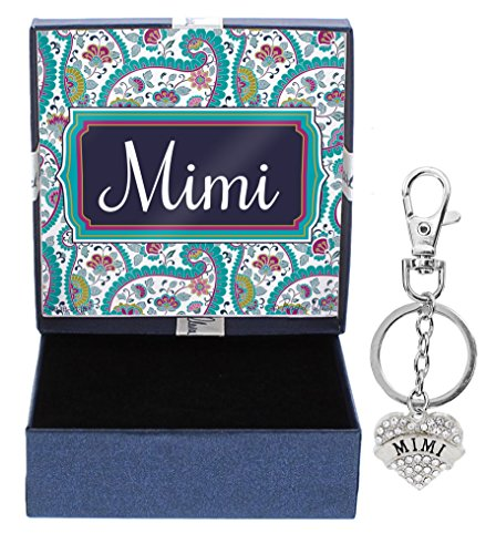 Mothers Day Gifts for Mimi Silver-Tone Crystal Adorned Heart Shaped Keychain and Paisley Gift Box Birthday Gifts for Mimi Keychain Mimi Jewelry - Paisley Hearts