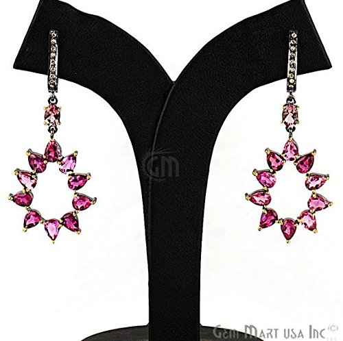 ring, 11 cts Pink Tourmaline With 0.18 cts of Diamond as Accent Stone (DR-12169) (Estate Set Earrings)