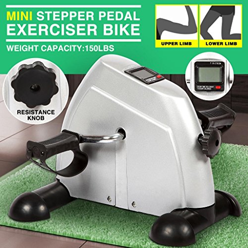 4EVER Portable Exercise Peddler Mini Pedal Exerciser Leg/Arm Adjustable Resistance + LCD monitor display by 4EVER