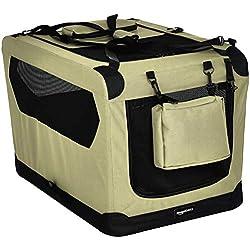 AmazonBasics - Transportín para mascotas abatible, transportable y suave de gran calidad, 76 cm, Caqui