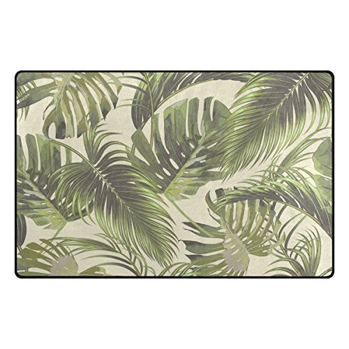 Tropical Living Room - Yochoice Non-slip Area Rugs Home Decor, Vintage Tropical Palm Leaf Floor Mat Living Room Bedroom Carpets Doormats 31 x 20 inches