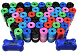 Downtown Pet Supply Dog Pet Waste Poop Bags with Two Free Leash Clips and Dispensers, 1000 Bags, Rainbow of Colors