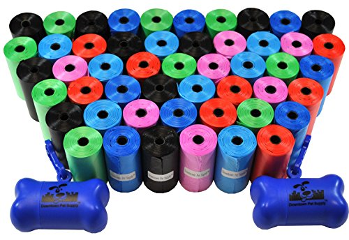 - Downtown Pet Supply Dog Pet Waste Bags with Two Free Leash Clips and Dispensers, 1000 Bags, Rainbow of Colors