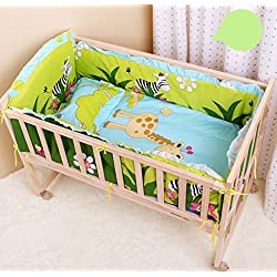 CUTI Unisex 5 Pieces Cartoon Giraffe Pattern Baby Nursery Crib Bedding Set Boys or Girls