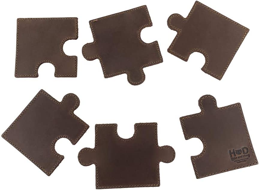 Puzzle Leather Drink Coasters Cup Mats (Set of 6 Pieces) Handmade by Hide & Drink :: Bourbon Brown