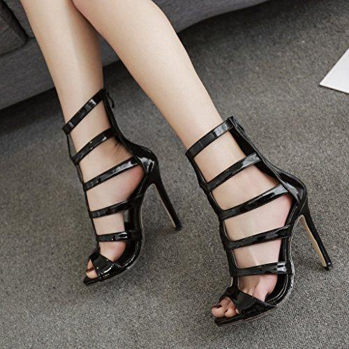 Zapatos Moda y altos europea Tamaño Blanco zapatos sexy ALUK botas 39 frescas tacones Color largos245mm mujer americana de Negro Calzado XBw8x8Tqt