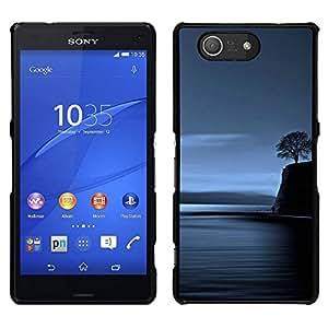 // PHONE CASE GIFT // Duro Estuche protector PC Cáscara Plástico Carcasa Funda Hard Protective Case for Sony Xperia Z3 Compact / Lonely Tree Blue Ocean Night Deep /