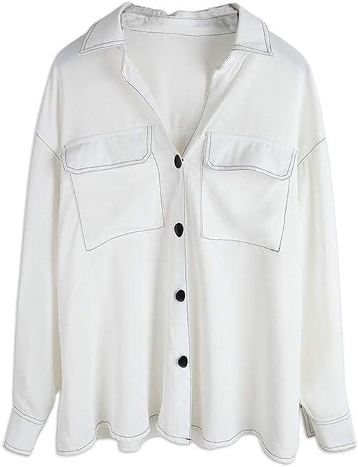 Camisa blanca for mujer Cuello Camisa de manga larga Utillaje Botón de bolsillo Camisa informal Top transpirable delgado Vestido profesional for damas (Color : Blanco , tamaño : Free size) : Amazon.es: Hogar