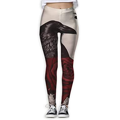 uyitrytu Pantalones de Yoga Mujer Yoga Pants Crow and Rose ...