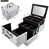 silverblack Meharbour Professional Makeup Train Case, Portable Folding Aluminum Makeup Organizer Jewelry Cosmetic Box Storage(US Stock) (Silver&Black)