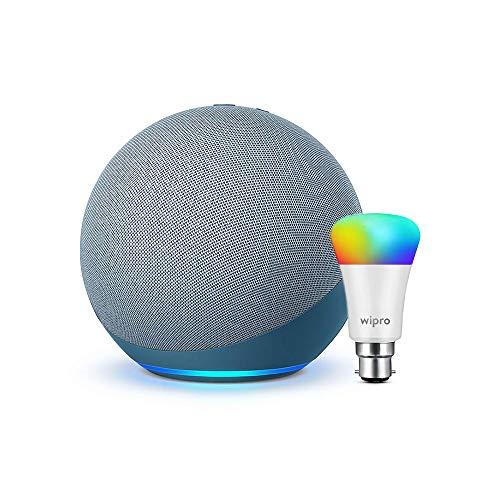 Echo (4th Gen, Blue) bundle with Wipro 9W Smart LED color bulb