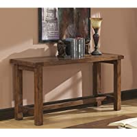 Emerald Home Chambers Creek Brown Sofa Table with Plank Style Top And Straight Timber Legs