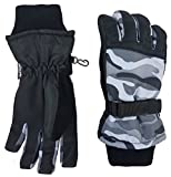 N'Ice Caps Kids Cold Weather Waterproof Camo Print Thinsulate Ski Gloves (Black Camo, 3-4 Years)