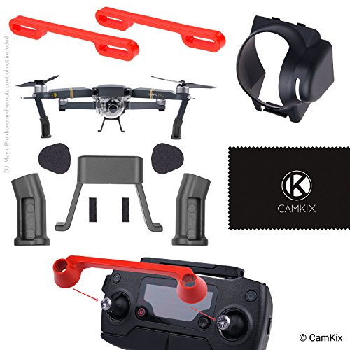 Sun Hood, Landing Gear Extenders, Remote Control Lock and Propeller Locks for DJI Mavic Pro - Blocks Excess Sunlight - More Ground Clearance - Locks the Position of the Joysticks and Propeller Blades