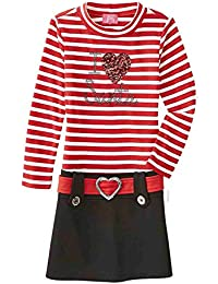 Girls Red & White Striped I Love Santa Christmas Dress Holiday Heart