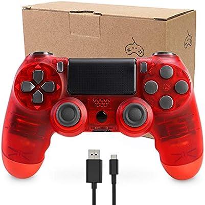 Mando Inalámbrico para PS4, Mando Inalámbrico Gamepad Doble Vibración Seis Ejes Mando Game Compatible con Playstation 4/PS4 Slim/PS4 Pro (Rojo Transparente): Amazon.es: Electrónica