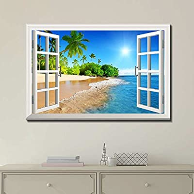 Canvas Print Wall Art - Window Frame Style Wall Art - Beautiful Tropical Beach with White Sand,Clear Sea and Palm Trees Under Blue Sunny Sky - 24