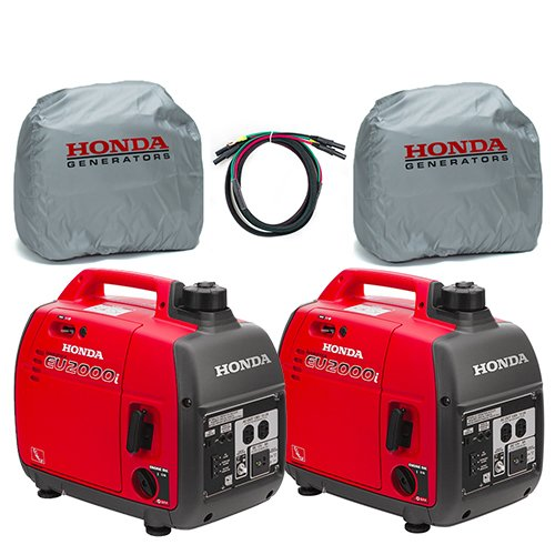 Honda 2-Piece EU2000i 2000W Generator, 2-Piece Inverter with Silver Cover and Parallel Cord (Honda Inverter Generator Eu2000i)