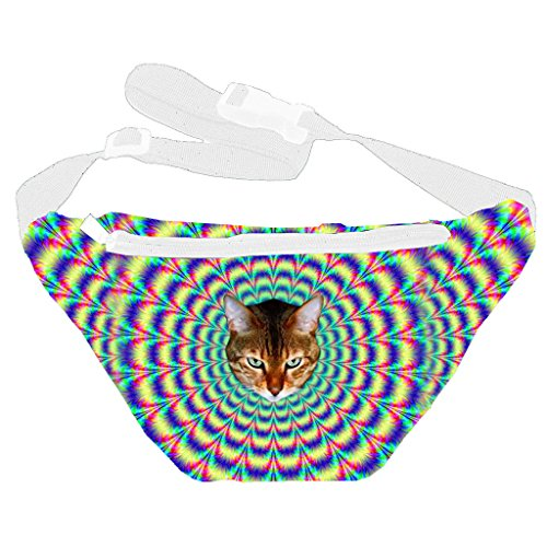 [Funny Guy Mugs Psychedelic Cat Fanny Pack] (Festival Costume For Men)