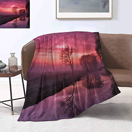HCCJLCKS Reversible Blanket Tree Misty Sunrise on River Cozy for Couch Sofa Bed Beach Travel W60 xL80 Traveling,Hiking,Camping,Full Queen,TV,Cabin]()
