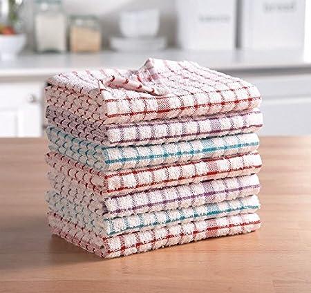 AritradersLTD - Paños de cocina de rizo, 100 % algodón, muy absorbentes, 3, 6, 9, 12 y 15 unidades, varios colores, 100% algodón de rizo. 100% algodón algodón, Paño de cocina de rizo., Pack of 15: Amazon.es: Hogar