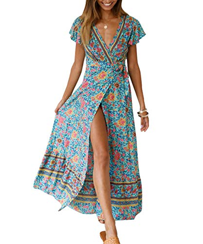 Century Star Women's Floral Print Wrap V Neck Maxi Dress Short Sleeve Split Flowy Boho Beach Long Dress Green Large