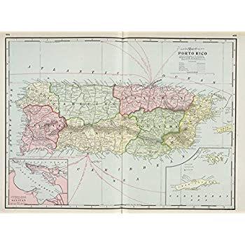 Amazon puerto rico panoramic map 12x18 art print wall wall art print entitled vintage map of puerto rico 1901 by alleycatshirts zazzle sciox Choice Image
